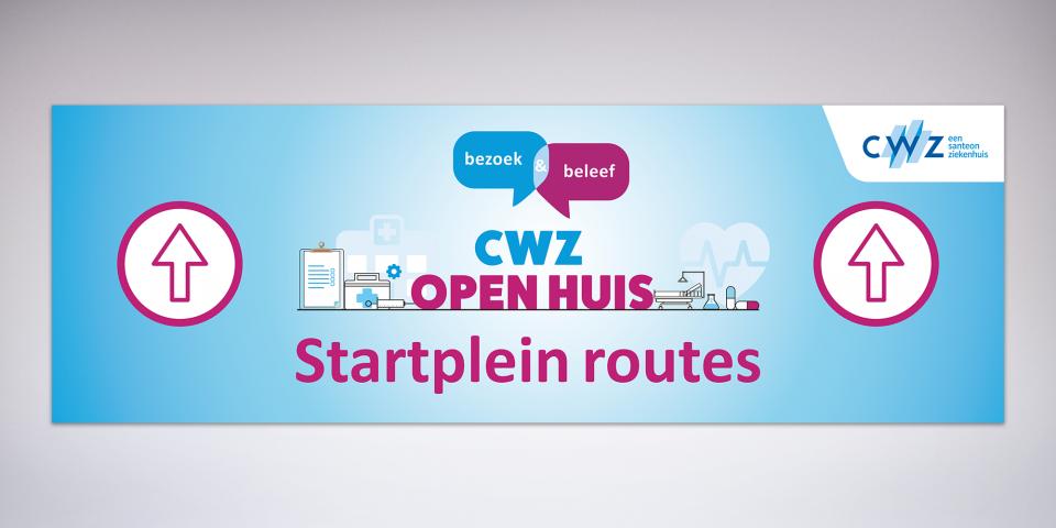 CWZ bord startplein route open huis
