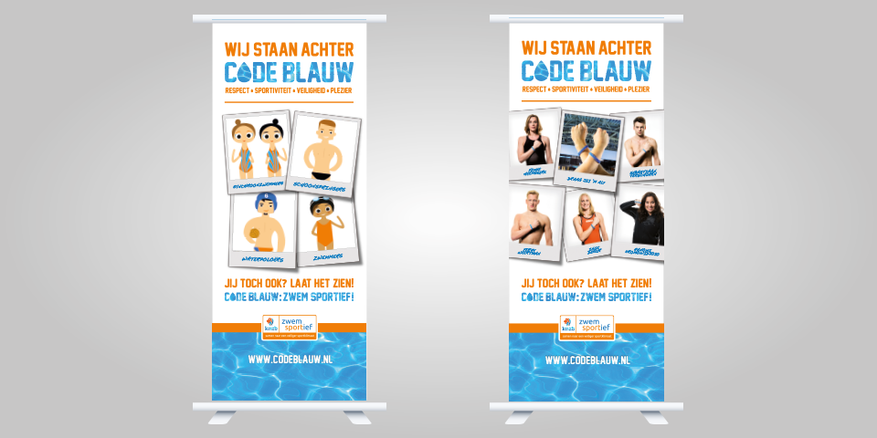 KNZB Code Blauw roll-up banners
