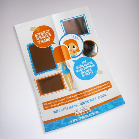 KNZB campagne: spiegeltje, spiegeltje flyer foliedruk
