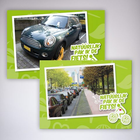 Instituut voor Duurzame Mobiliteit - kaarten campagne: Natúúrlijk pak ik de fiets!